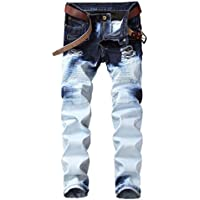 TUNGLUNG Men's Ripped Moto Biker Straight Fit Jeans Pants Broken Holes With Zipped Deco