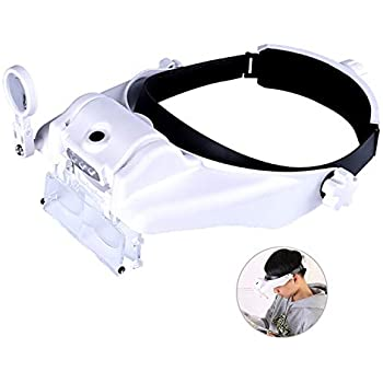 Amazon Com Lighted Head Magnifying Glasses Visor Headset