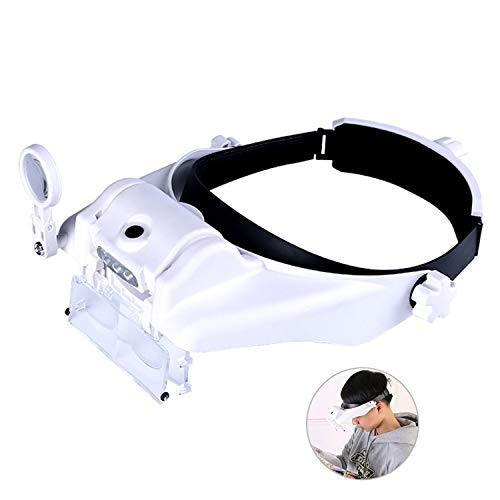 Lighted Head Magnifying Glasses Visor Headset with Light Headband Magnifier Loupe Hands-Free for Close Work,Sewing,Crafts,Reading,Repair,Jewelry(1.5X to ()