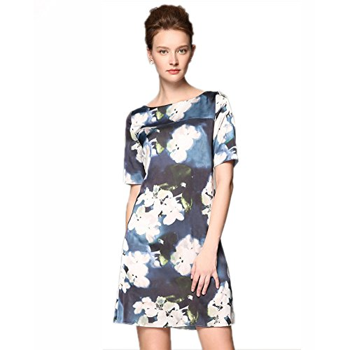 cotyledon Women Dresses Sleeve Neck Dress Square Short Slim Printed fit for Summer 7r7B6