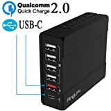 USB Ladegerät 50W 6-Port Multi Port USB Ladegerät Steckdosen Ladeadapter Charger USB Stecker Quick Charge 2.0 USB Type C Charger für iPhone 6S 6 plus iPad Air Android Geräte -AngLink
