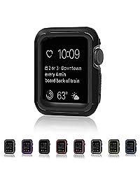 Lenfech Funda Deportiva para Apple Watch de 38mm y 42mm Caratula/Protector/Carcasa para iWatch de 38mm y 42mm. Series 1, 2, 3 Sport Case for Apple iWatch. Disponible en 7 Colores. (Negro, 42mm)