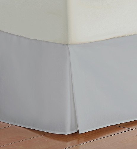 Branded SRP LINEN 100% Egyptian Cotton, 800 Thread Count 1-Piece Split Corner 18'' Drop Length Tailored Bed Skirt (Silver Solid, King size)