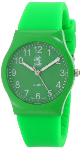 """Golden Classic Women's 8127-Green """"Classic Jelly"""" Bright Rubber Strap Watch"""