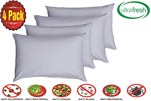 Niagara Sleep Solution Lab Certified Anti Dust Mite Allergy Pillow Protectors Ultra Fresh Treated 4 Pack Standard 20x26inches 100% Cotton Non Crinkle Quiet (Standard 4 Pack)