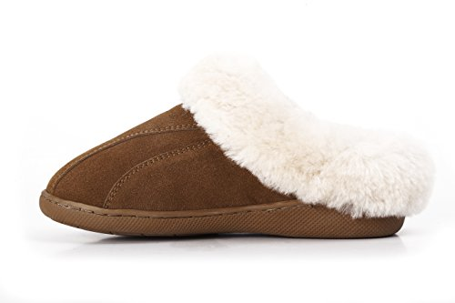 Platforms Leather Lambskin (Lamb Women's Genuine Leather with Australian Sheepskin Slippers (10, Chestnut))