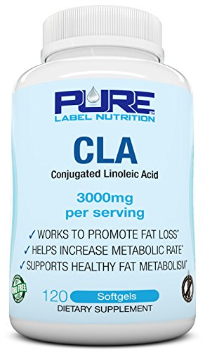 PURE CLA Supplement 3000mg (120 ct) Highest Dose Available, Fat Burner + Weight Loss Supplement, All Natural Conjugated Linoleic Acid, Premium CLA Softgels Physique Enhancing Formula CLA Men/Women by Pure