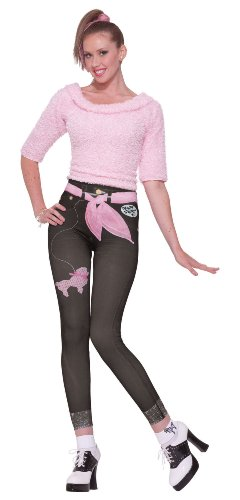 Costume 50's Greaser (Forum 50's Style Jean Graphics Leggings, Black/Pink,)