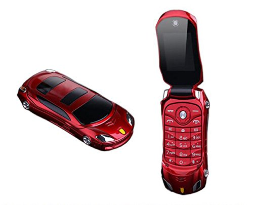 Sports Car Model F15 Mini Flip Phone Dual SIM Card MP3 Backup Phone Best For Kids Students (Red) (Phone Cell Flip)