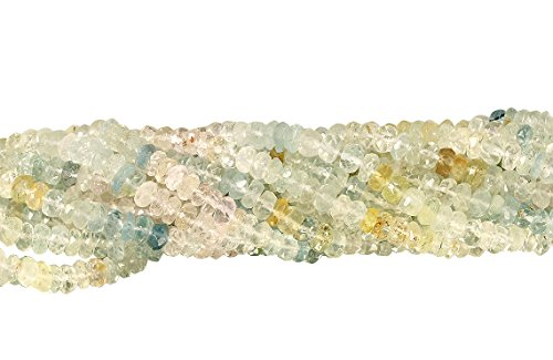 1 Strand 13 1/2 Inch 4.5-5 mm Multicolor Rondelle Faceted Aquamarine Gemstone (Aquamarine Faceted Rondelle Beads)