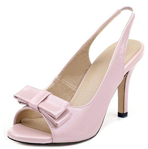 Aisun Women's Sweet Sling Back Bowknot Peep Toe Sandals Pink M6Zwuri3