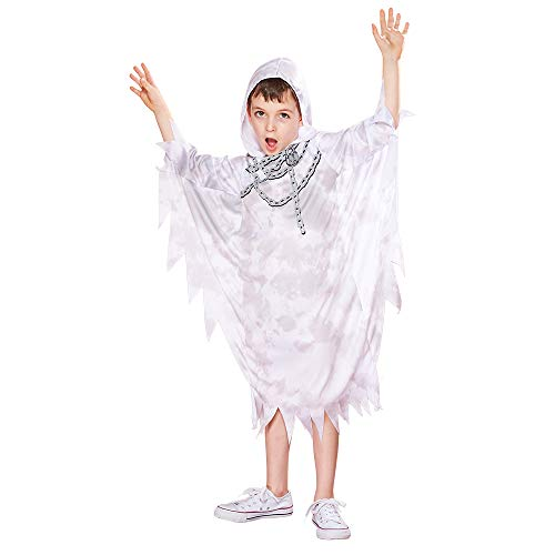 Grave Ghoul Child Halloween Costume (EraSpooky Halloween Kids Spooky Ghost Chains Grim Reaper Hooded Robe Horror Costume)