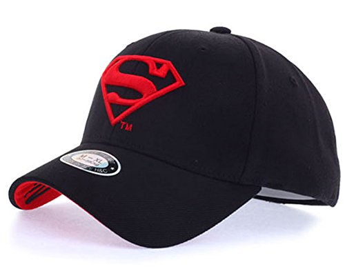 POPKORS Superman Shield Embroidery Flex-fit Strech Fit Fitted Baseball Cap Trucker Hat (M~L, 22.44