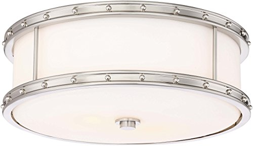 Minka Lavery Flush Mount Ceiling Light 827-84 Low Profile Fixture, 3-Light 180 Watts, Brushed Nickel