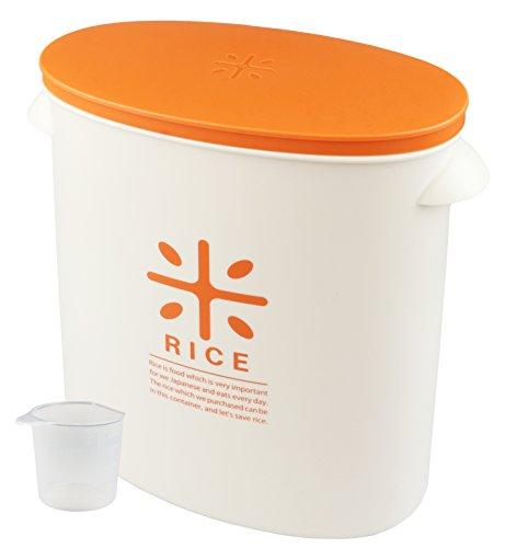 펄금속 일본제(MADE IN JAPAN) 쌀통 5kg 오렌지 계량 컵부 쌀대 그대로 스톡 RICE HB-3435