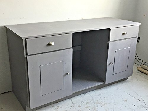 Distressed Gray Wine Bar Cabinet with Refrigerator Compartment (Wine Cabinet Refrigerator Bar With)