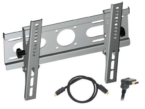 """Pyle Super Wall Mount & Cable Package for Home/Office/Schools/Public -- PSXPT006 Tilt Wall Mount for 14"""" to 37"""" Displays + PHDMRT6 6Ft. Horizontal Swivel High Definition HDMI Cable With Heavy-Duty Fiber Shielding."""