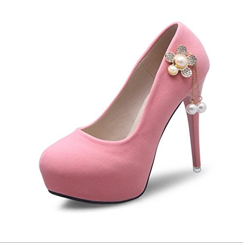 MZG Weibliche High Heels Frühling und Sommer-Herbst-Winter-Runde Kaschmir Gesicht Wasserdichte Tabelle reine Farbe und einzelne Schuhe Pink
