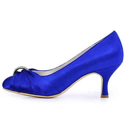 Bleu De Chaussures Mariage Femme Satin Hc1526 Escarpins Elegantpark Bal Mariee wqZSzHS