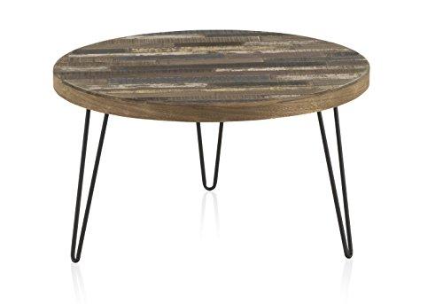 D.G. Quality Mobles - Mesa de Centro Fabricada en Madera de Pino Reciclado con Patas metalicas. Medidas: diametro 71 cm, Altura 40 cm, Grosor Tablero 4