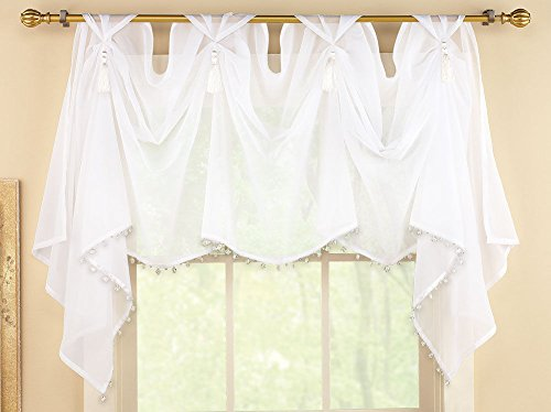 White Sheer Scoop Valance w/ Fringe Tassels & Gems Window Shear Curtain Swag