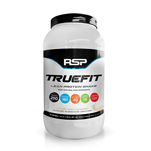 RSP TrueFit - Lean Meal Replacement Protein Shake with Fiber & Probiotics from Essential Real Whole Foods, Gourmet Vanilla Milkshake, 2 Pound Protein Powder for Men & (Whole Food Meal)