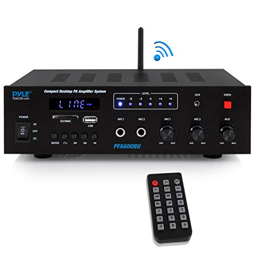 (Wireless Bluetooth Karaoke Amplifier - 300 Watts 2 Channel  Digital Home Audio PA Receiver System 2 Microphone Input Control, FM Radio, USB,12 Volt Power Option - Pyle PFA600BU)