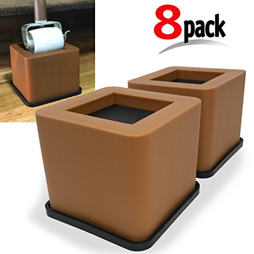 8 Pack Brown Bed. Desk, Couch, Chair Riser / Lift (Pat. Pending) STRONGEST Won't Crack, Rubber Bottom Won't Scratch Floors, Stand Assist, Verified Lab Test Supports +6,800 Pounds (8, Brown)