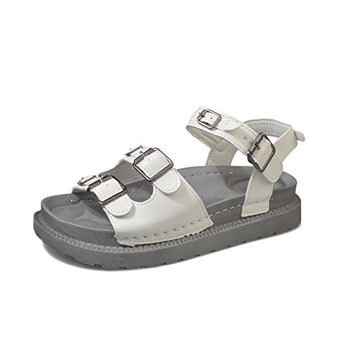 Confortables Clásico Dedos Parte Antideslizante Sandalias Fondo YMFIE de Playa white Moda Inferior Verano Plano Simple Calzado de la con en Retro Suave 0Ix7d4