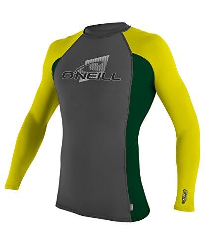O'Neill Wetsuits Men's UV Sun Protection Skins Long Sleeve Crew Rashguard, Graphite/Combat/Yellow, Medium