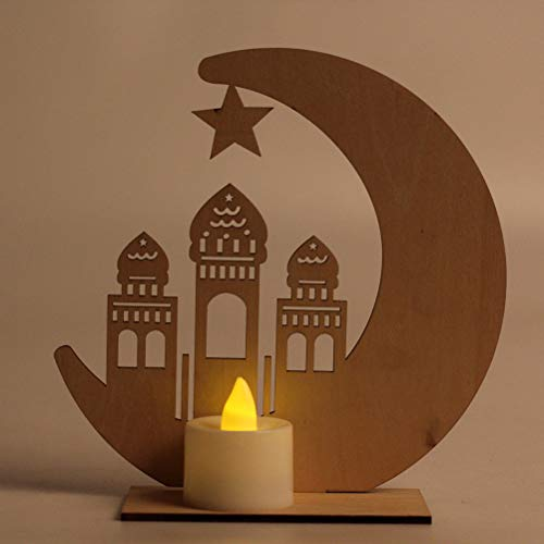 Uonlytech Muslim Ramadan Table Lights Wooden Candle Castle Night Light with Battery and Electronic Candle for Festival Party Bedroom Decor