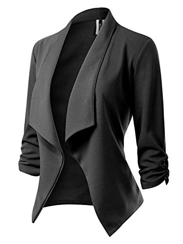 (MixMatchy Women's [Made in USA] Classic 3/4 Gathered Sleeve Open Front Blazer Jacket (S-3XL) Charcoal)