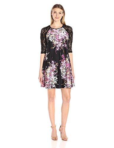 Buy lace sleeved black dress - 2