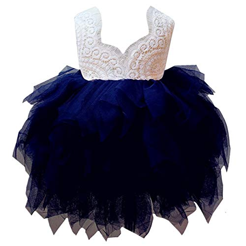 2Bunnies Girl Peony Lace Back A-Line Tiered Tutu Tulle Flower Girl Dress (Navy Sleeveless, 5) -