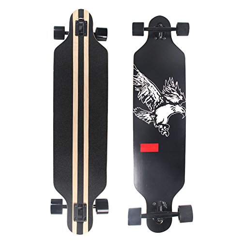 Esright Maple Drop Down Longboard Complete Skateboard 41in (Eagle) (Heat Longboard)