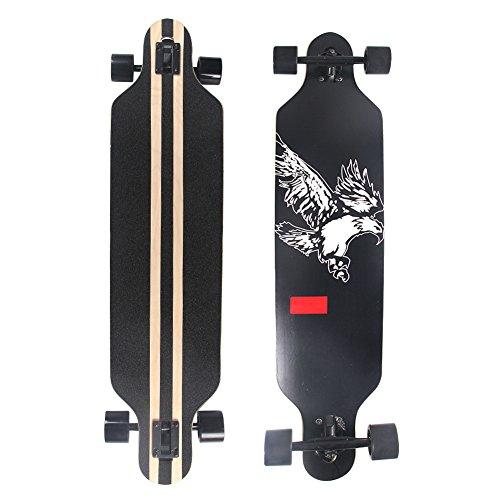 Esright Maple Drop Down Longboard Complete Skateboard 41in (Eagle) (Longboard Heat)