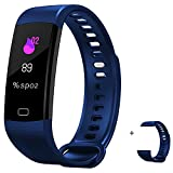 HYON Fitness Activity Sleep Tracker Heart Rate Blood Pressure Monitor Step Calorie Counter Health Pedometer Watch Smart Band Bluetooth Bracelet Waterproof Wristband for Kids & Adults (Blue)