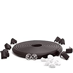 SafeBaby & Child safety baby proofing edge strip 23.2ft Long with Corner Guards - 8 Clear protective bumpers for furniture + 8 cushion foam brick pad childproof fireplace guard for toddlers.Onyx black