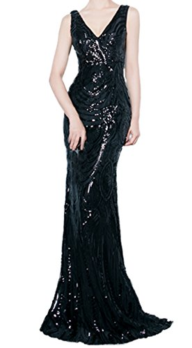 Butmoon Women's Mermaid V Neck Sequin Long Bridesmaid Dress Evening Dress