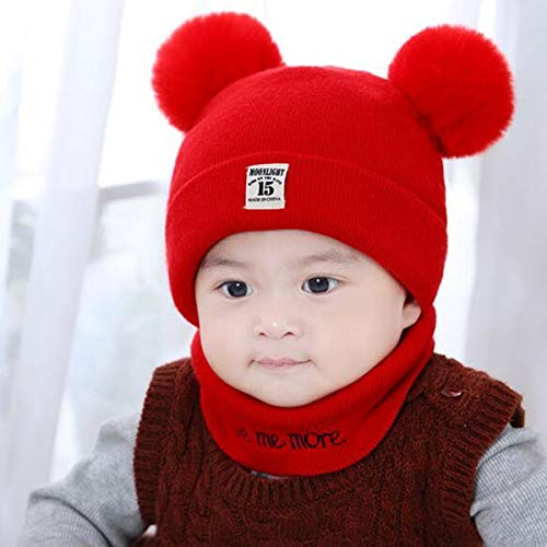 e2a14cd405431 2pcs/Set Newborn Toddler Kid Children Knit Warm Winter Hat Bobble Beanie Cap  + O