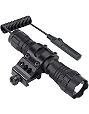 Feyachi FL11 Tactical Flashlight 1200 Lumen LED Light with Picatinny Rail Mount for Outdoor Hunting Shooting, Rechargeable Batteries and Remote Switch Included