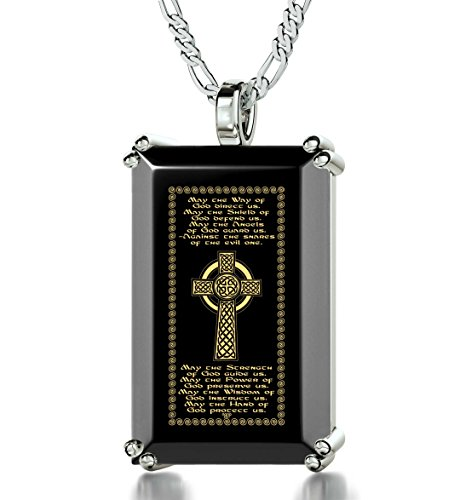 (Nano Jewelry 925 Sterling Silver Men's Celtic Cross Necklace Irish Blessing 24k Gold Inscribed on Onyx Christian Pendant, 20