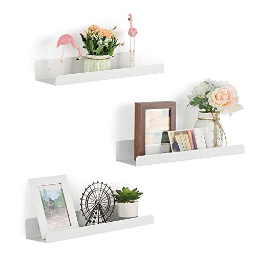 NEX Metal Picture Ledge Shelf Set of 3 White Picture Shelf Wall Mounted Floating Shelves for Bedroom, Bathroom, Living Room, Kitchen