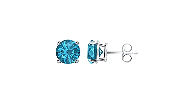Blue Topaz Solitaire Fancy Party Wear Stud Earrings 14k Black Gold Over .925 Sterling Silver For Womens Girls 3mm Round Clear