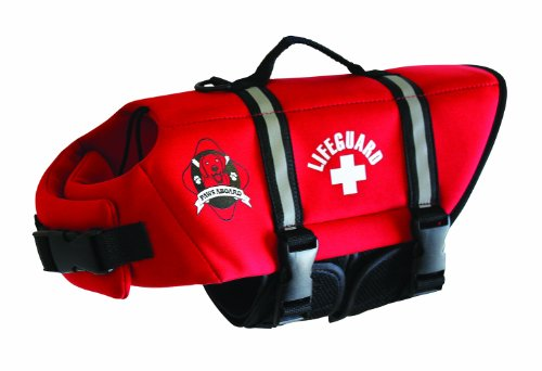Paws Aboard Medium Neoprene Designer Doggy Life Jacket, Red Lifeguard, My Pet Supplies