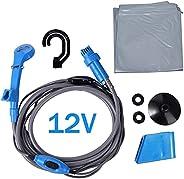 XUYUAN 12V Portable Outdoor Automobile Shower Kit, Car Cigarette Lighter Shower Water Pump for Car Washing, Ou