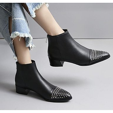 RTRY Zapatos De Mujer Auténtico Cuero Pu Moda Otoño Invierno Botas Planas Botas De Tacón Botines/Botines Botas Mid-Calf For Casual Negro Negro Us7.5 / Ue38 / Uk5.5 / Cn38 US5.5 / EU36 / UK3.5 / CN35