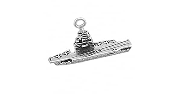 Sterling Silver Girls .8mm Box Chain 3D Small Naval Aircraft Carrier Pendant Necklace