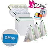 Premium 9 Pack Reusable Produce Bags, QMAY Reusable Mesh/Produce Bags with Drawstring, Washable Eco Friendly Mesh Bags for Grocery Shopping Storage of Fruit Vegetable & Garden Produce