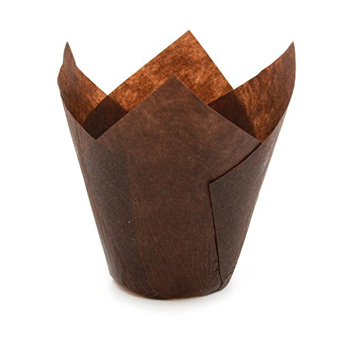 Brown Tulip Baking Cups, Medium Size, for Muffins, Cupcakes, Eco Friendly, Disposable, Non-Stick, Pack of 3200 - by Ecobake